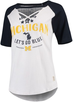 Women's Pressbox White/Navy Michigan Wolverines Abbie Criss-Cross Raglan Choker T-Shirt