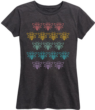 Instant Message Women's Women's Tee Shirts HEATHER - Heather Charcoal Rainbow Bee Grid Relaxed-Fit Tee - Women & Plus