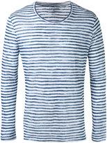 Majestic Filatures striped long sleeve T-shirt - men - Linen/Flax - L