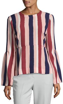 BCBGMAXAZRIA Striped Peplum Top