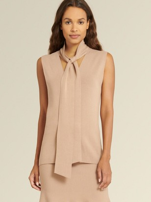 DKNY Donna Karan Women's Sleeveless Tie Neck Sweater - Camel - Size L
