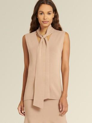 DKNY Donna Karan Women's Sleeveless Tie Neck Sweater - Camel - Size S