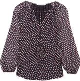 Diane von Furstenberg Saylor Printed Silk-georgette Blouse - Midnight blue