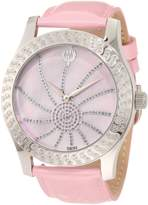 Brillier Women's 03-42327-05 Kalypso Silver-Tone Pink Leather Watch
