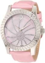 Brillier Women's 03-42327-05 Kalypso Silver-Tone Pink Leather Watch