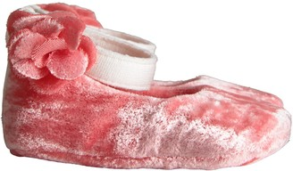 Blumarine Pink Babygirl Flat Shoes With Flower