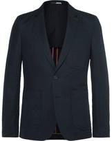 Paul Smith Blue Slim-fit Unstructured Linen And Cotton-blend Blazer