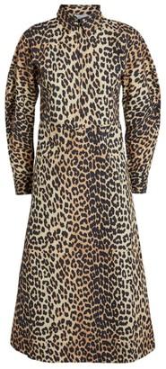 Ganni Leopard Print Zip-Neck Midi Dress