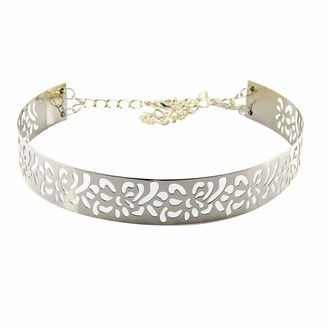 3.5cm Wide Women's Metal Plate Belt - Silver Coloured - Metallic Mirror Waist Band with Chain By Trimming Shop