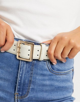 ASOS DESIGN double prong waist and hip belt in beige