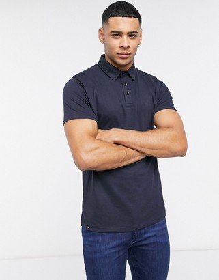Le Breve slim fit polo in muscle fit in navy