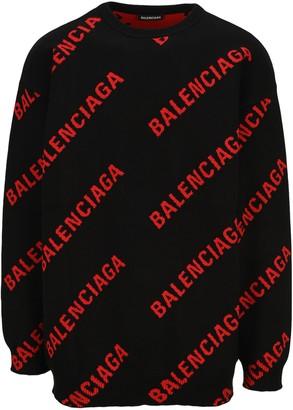 Balenciaga Logo Intarsia Sweater