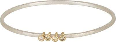 Malcolm Betts Women's Hammered Silver Bangle with Diamond & Gold Ring Charms