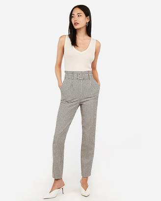 Express Super High Waisted Belted Check Print Ankle Pant