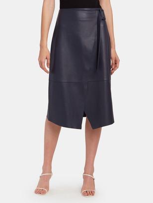 Norr Alba Leather Wrap Midi Skirt