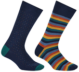 John Lewis Made In Italy Bold Stripe Birdseye Socks, Pack Of 2, Navy/multi