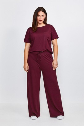 Karen Millen Curve Lounge Viscose Wide Leg Trousers