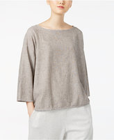 Eileen Fisher Organic Cotton-Blend Boat-Neck Boxy Top
