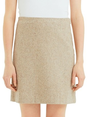 Theory Easy Waist Recycled Wool-Blend A-Line Skirt