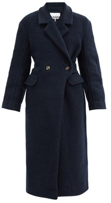 Ganni Double-breasted Wool-blend Coat - Navy