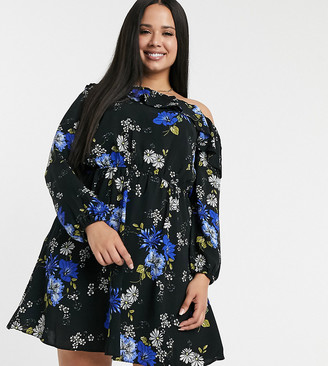 Simply Be cold shoulder dress in floral