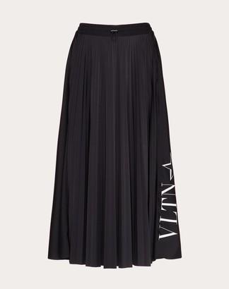 Valentino Pleated Jersey Skirt With Vltnstar Print Women Black/white Polyester 100% L