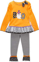 Orange 'Boo' Tunic & Leggings Set - Girls