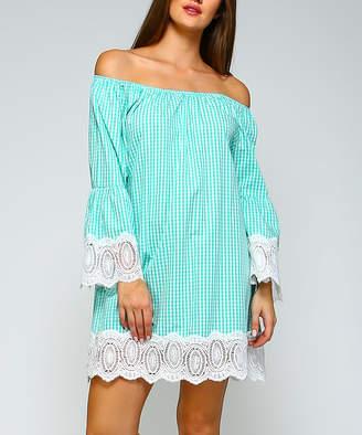 Simply Boho La Simply Boho LA Women's Casual Dresses MINT - Mint Gingham Crochet-Trim Bell-Sleeve Off-Shoulder Dress - Women