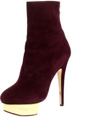 Charlotte Olympia Aubergine/Gold Suede And Leather Lucinda Platform Ankle Boots Size 37