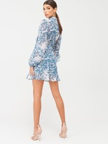 In The Style X Billie FaiersKeyhole Front Frill Mini Dress - Ornate Green Print