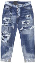 DSQUARED2 Washed Blue Stretch Cotton Glam Head Jean Jeans