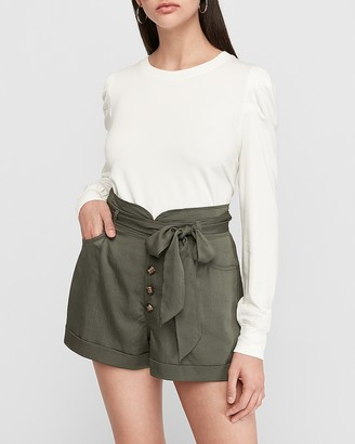 Express Super High Waisted Silky Twill Sash Tie Shorts