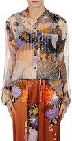 Dries Van Noten Women's Calyba Silk Plissé Chiffon Blouse