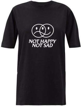 Vetements Not Happy Not Sad Cotton-jersey T-shirt - Black