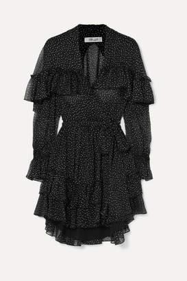 Diane von Furstenberg Martina Ruffled Polka-dot Silk-crepon Wrap Dress - Black