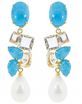 Bounkit Turquoise and Pearl Drop Earring Set