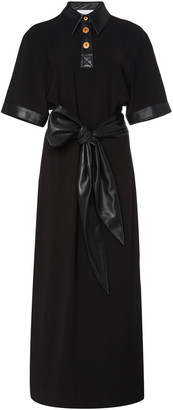 Nanushka Leila Tie-Front Vegan Leather-Trimmed Crepe Dress