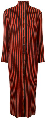 Issey Miyake Pre-Owned striped plissé turtleneck midi dress