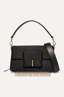 Wandler Georgia Leather-trimmed Crystal-embellished Satin Shoulder Bag - Black