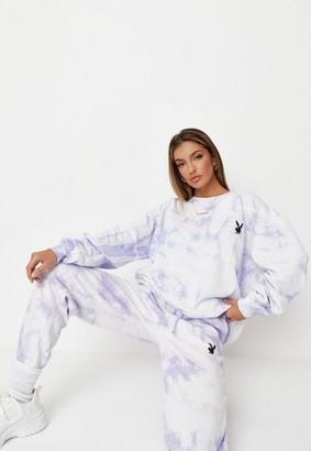 Missguided Playboy X Lilac Tie Dye Oversized Crew Neck Sweatshirt