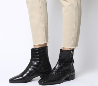 Office Adore Side Zip Casual Boots Black Croc Eather