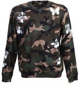 Valentino Flowers And Butterflies Printed Camouflage Cotton Sweater