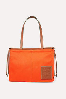 Loewe Cushion Leather-trimmed Canvas Tote - Orange