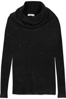 Joie Mildred Sequin-Embellished Draped Open-Knit Sweater