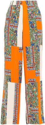 Tory Burch Printed Silk Crepe De Chine Wide-leg Pants