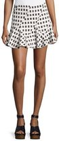 Derek Lam 10 Crosby Flared Mini Skirt W/ Lacing, Black/White