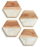 Nordstrom Set Of 4 Wood & Marble Coasters