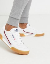 adidas continental 80 sneakers in white with gum sole