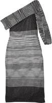 Missoni One-shoulder metallic crochet-knit dress