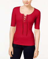 Ultra Flirt Juniors' Rib-Knit Lace-Up T-Shirt